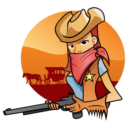 Portrait od Cowgirl Vector