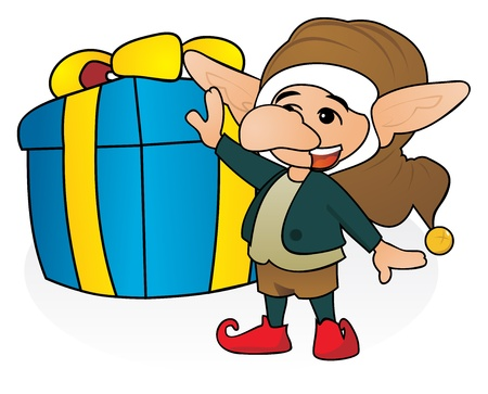 Happy gnome with huge Christmas gift Stock Vector - 16686189
