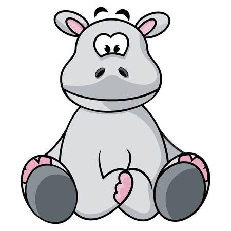 hippo cartoon: Cartoon illustration of Hippo isolated on white