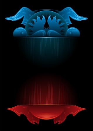 Heaven and Hell on illustration of gate in gothic style Vector