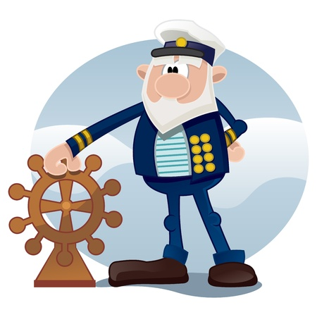 sailor hat: Captain of the ship on the sea Illustration