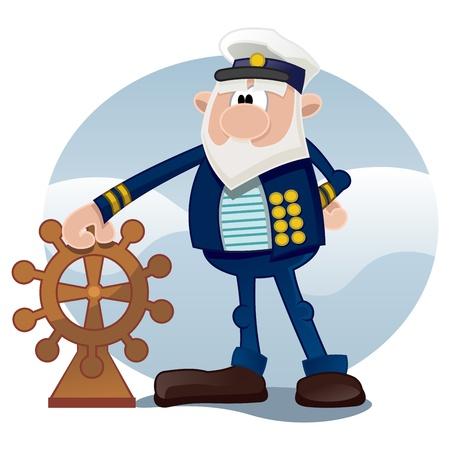 Kapitein van het schip op zee