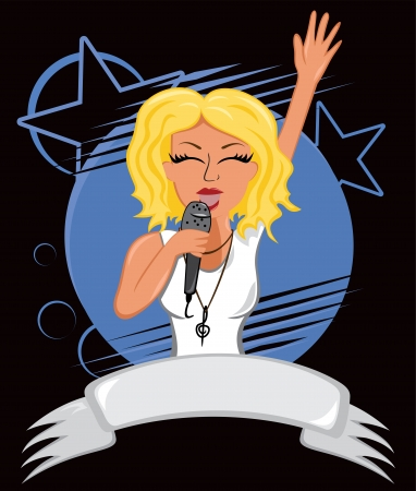 singer with microphone: Karaoke poster Illustration