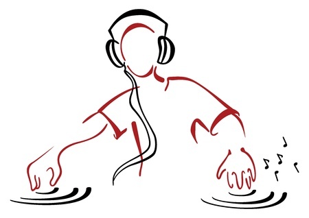 dj: DJ behind console Illustration