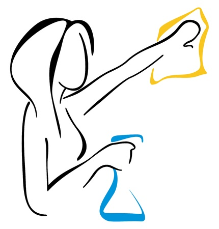 Woman cleaning a window Vector