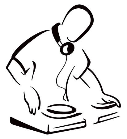コンソールの背後にある DJ  イラスト・ベクター素材