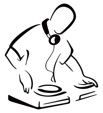 DJ behind console Illustration