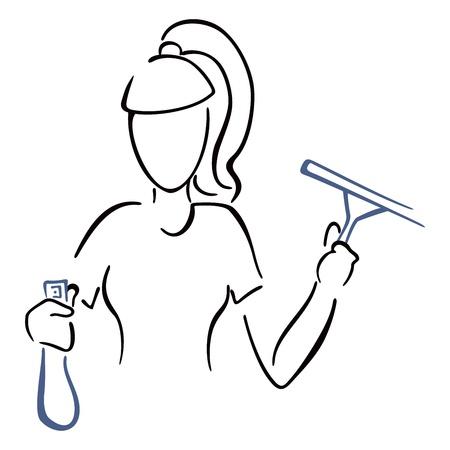 Hulp in de huishouding aan het werk Stock Illustratie