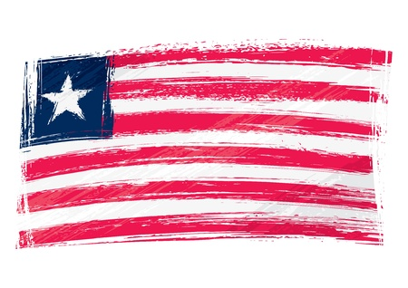 liberia: Grunge Liberia flag Illustration