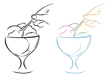 ice cream cup: Ice cream Illustration