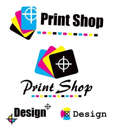 print shop: Set of CMYK designs