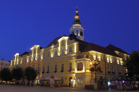 oldtown: City hall in Swidnica city Poland at night Editorial