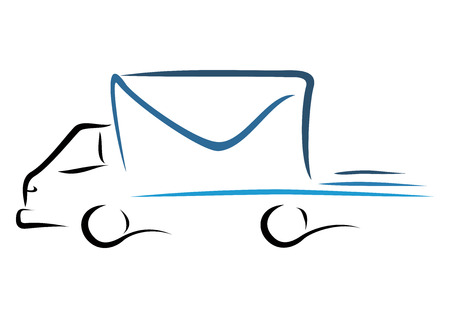 mail truck: Rush delivery truck to bringing cargo