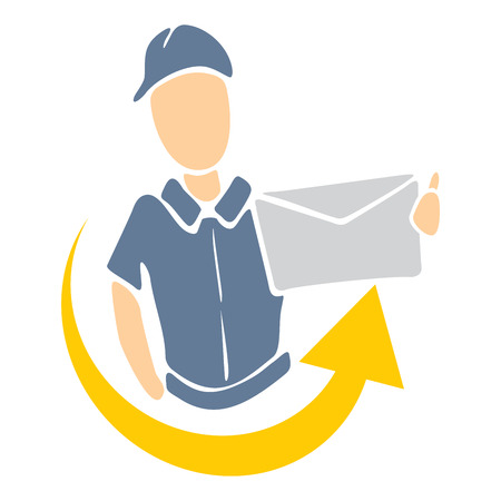 mailman: Illustration of delivery man handing package Illustration