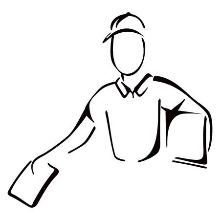 Ilustración del repartidor entregando paquetes