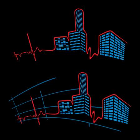 cardiogram: EKG of city