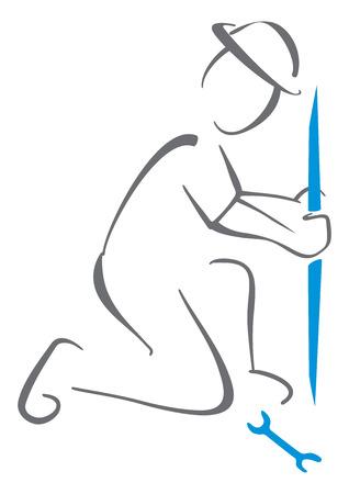 obrero trabajando: Hidráulica símbolo
