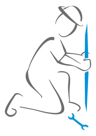 worker working: Hydraulics symbol