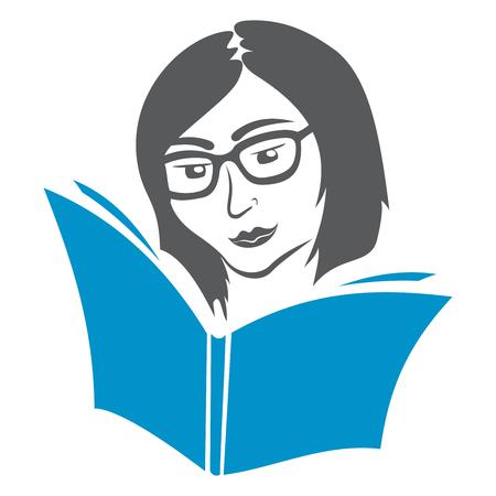 mujer leyendo libro: Símbolo de la Educación Vectores