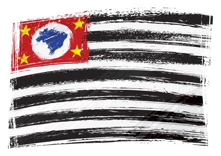 Grunge Sao Paulo flag Illustration