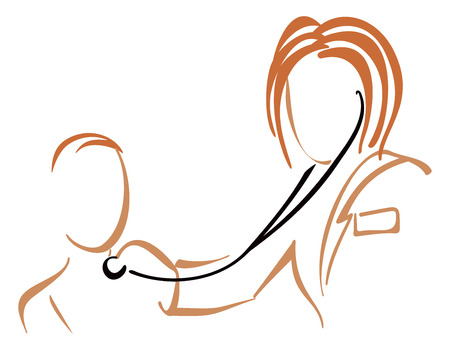 Pediatrician with stethoscope Illustration