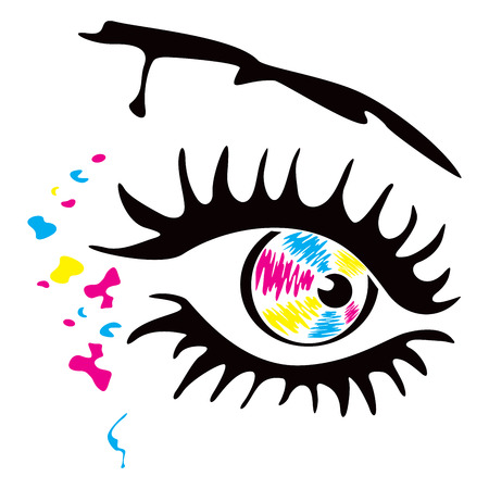 Eye and spots in cmyk colors Vector