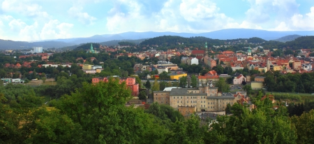 gora: Landscape of city Jelenia Gora in Poland Stock Photo