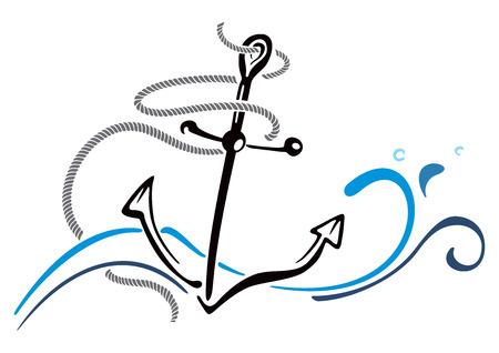 anchored: Anchor in sea