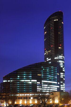Sky scraper Skytower in Wroclaw at night