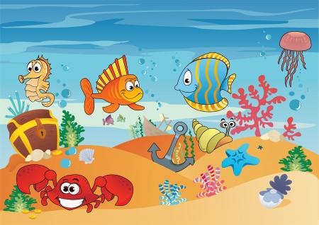 peces caricatura: Vida marina