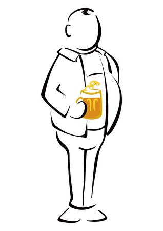 tipsy: Beer drinker Illustration