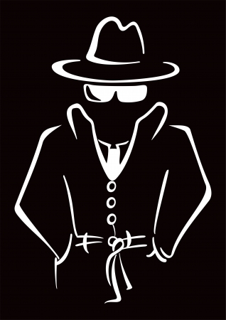 mobster: Mysterious man in the hat Illustration