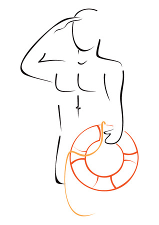 rescuer: Man with lifebouy Illustration