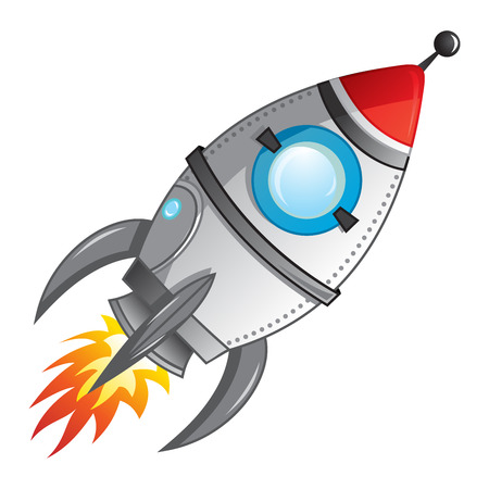 cartoon rocket: Rocket launch