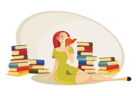 reading cartoon: Reading a book Illustration