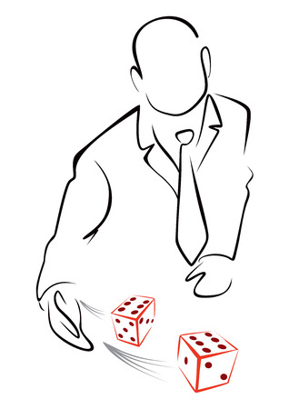 lucky man: Rolling dices Illustration