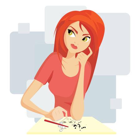 draftsman: Pretty girl painting Illustration