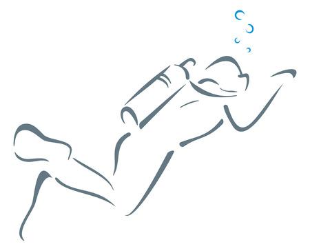Zwemmen onder water Stock Illustratie