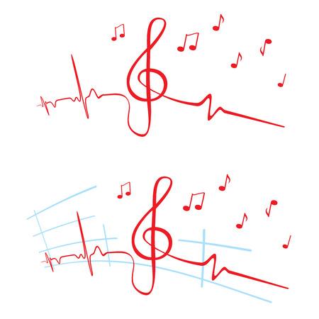 音楽の心電図  イラスト・ベクター素材