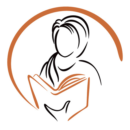 woman reading book: Education icon