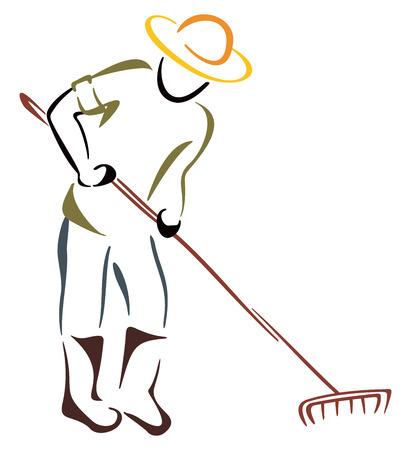 raking: farmer Illustration