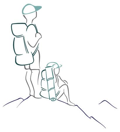Randonneurs sur la montagne Vecteurs