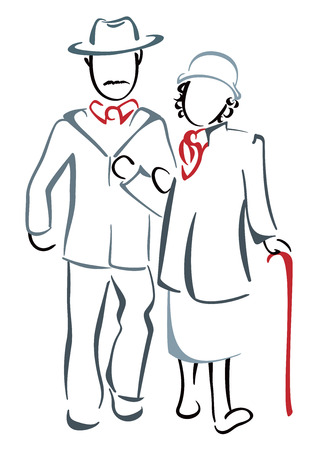 walking stick: Senior couple Illustration