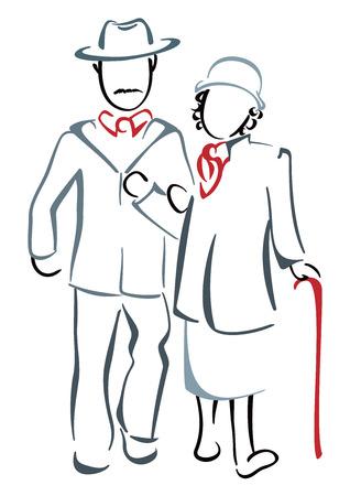 older couple: Senior couple Illustration
