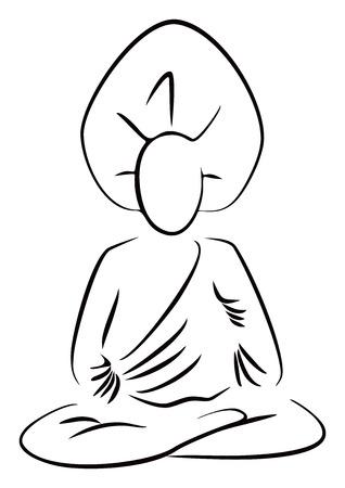 meditation isolated white: Sitting Buddha Illustration