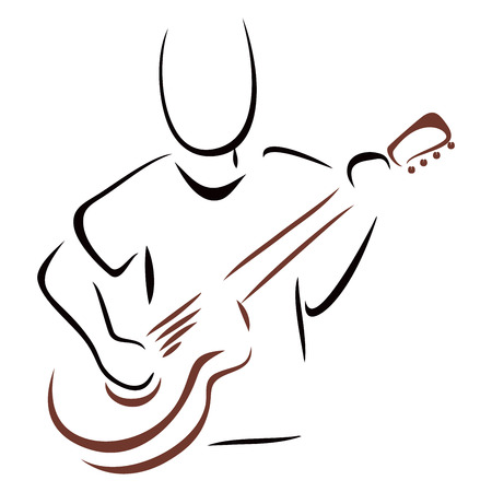 Musician with guitar Vector