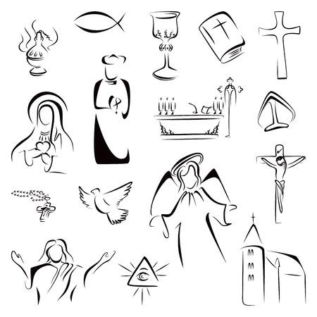Insieme di simboli di religione cristiana Archivio Fotografico - 29492552