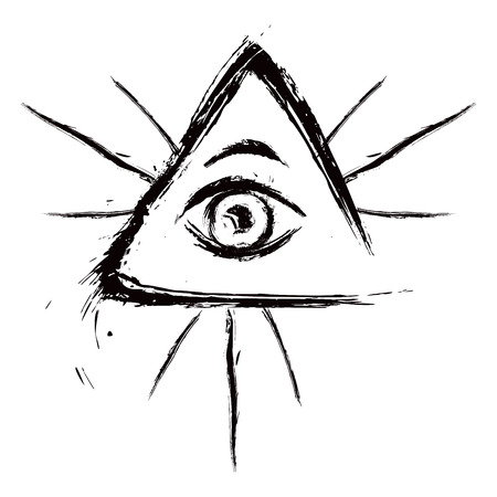 eye tattoo: Eye of Providence symbol created in grunge style Illustration