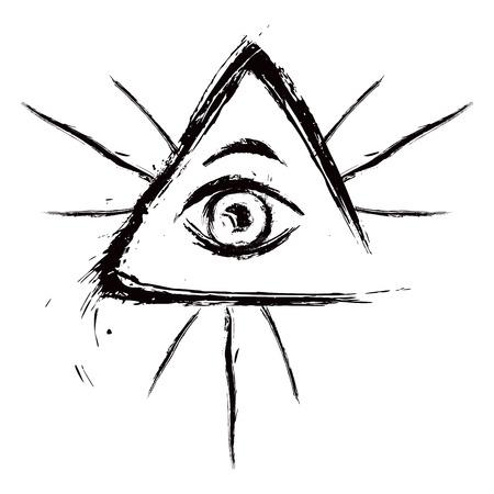 Eye of Providence symbol created in grunge style Illustration