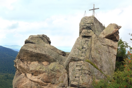 sudetes: Lookout at peak of Oresnik in Czech Republic